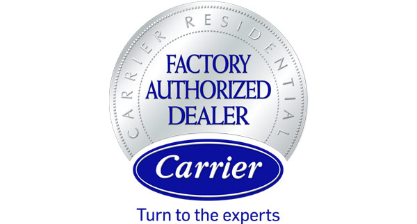 Carrier Factory Authorized Dealer Logo - Silver Gradient Seal With Royal Blue Serif Text
