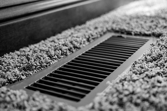 Close up of HVAC floor vent