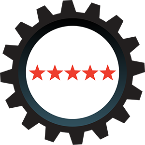 Five Stars Icon - Black cog with five red stars inside