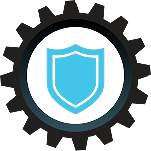 Trusted Icon - Black cog with blue shield inside