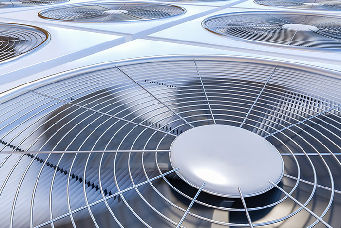 Close up of HVAC unit fan
